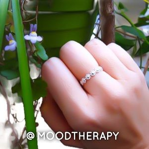 925 Sterling Silver Daisy Flower Chain Ring